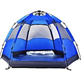 WDZJM Outdoor Tents, Automatic Double-Layer Hexagonal Tents, Outdoor 3-4 People Rainproof and UV-Proof Beach Camping Outdoor Tents, (Color : Blue, Size : 3-4 People 240240135)