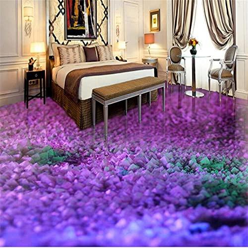 Pasta de piso personalizada gema púrpura 3D sala de estar desgaste engrosamiento impermeable patín pintura decorativa-250x175cm