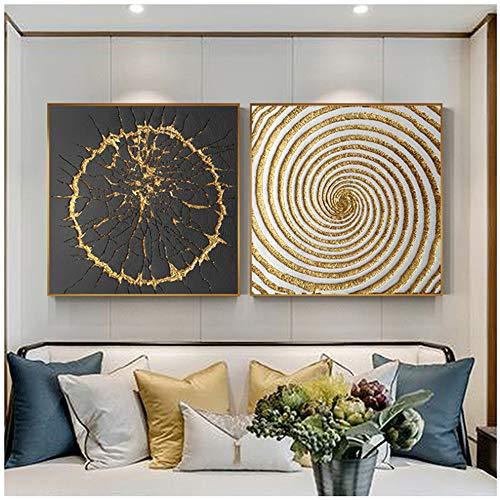 NO BRAND Impresiones en Lienzo Cuadros Abstractos Cuadros Cuadrados Cuadros en Negro y Dorado Cuadros Modernos Decoración para el hogar-50x50cm Sin Marco