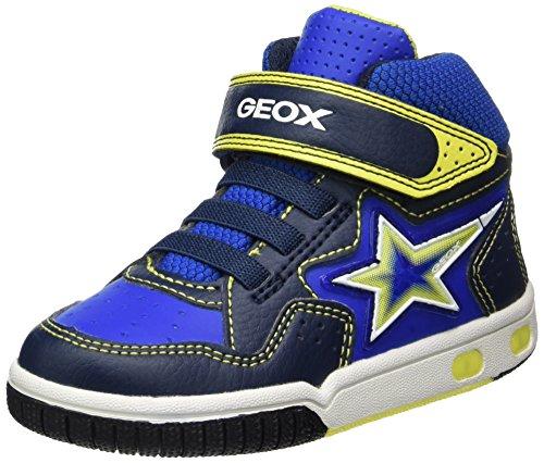 Geox Jungen JR Gregg A Hohe Sneaker, Blau (Navy/Lime), 37 EU