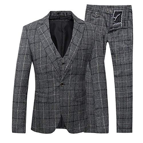 Men's Plaid Modern Fit 3-Piece Suit Blazer Jacket Tux Vest & Trousers