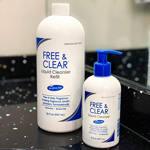 Free & Clear Liquid Cleanser | Fragrance, Gluten and Sulfate Free | For Sensitive Skin | 8 Fl Oz