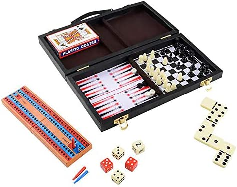 Board Games Chess Backgammon Cards Checkers Dominoes Cribbage 6 in 1 Travel Case 11 Inch product image