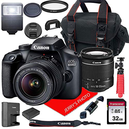Canon EOS 4000D DSLR Camera w/Canon EF-S 18-55mm F/3.5-5.6 III Zoom Lens + Case + 32GB SD Card (15pc Bundle)