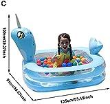 FANPING Family Pool aufblasbarer Baby-Pool verdickte Baby-Planschbecken Rechteck Planschbecken for Kinder Baby-Pool mit Flamingo/Einhorn/Seepferdchen-Form (Color : C Blue Two Layers)