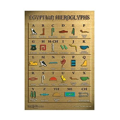Vspgyf Póster de jeroglíficos egipcios, Pintura en Lienzo, imágenes artísticas de Pared, Carteles e Impresiones, decoración del hogar, Regalo -50x70cmx1pcs -sin Marco