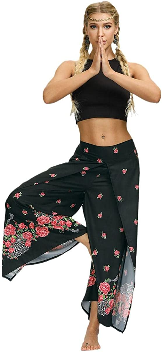 MUATE Wide Leg Pants for Women High Waisted Flowy Jumpsuits Hippie Pants Comfy Casual Athletic