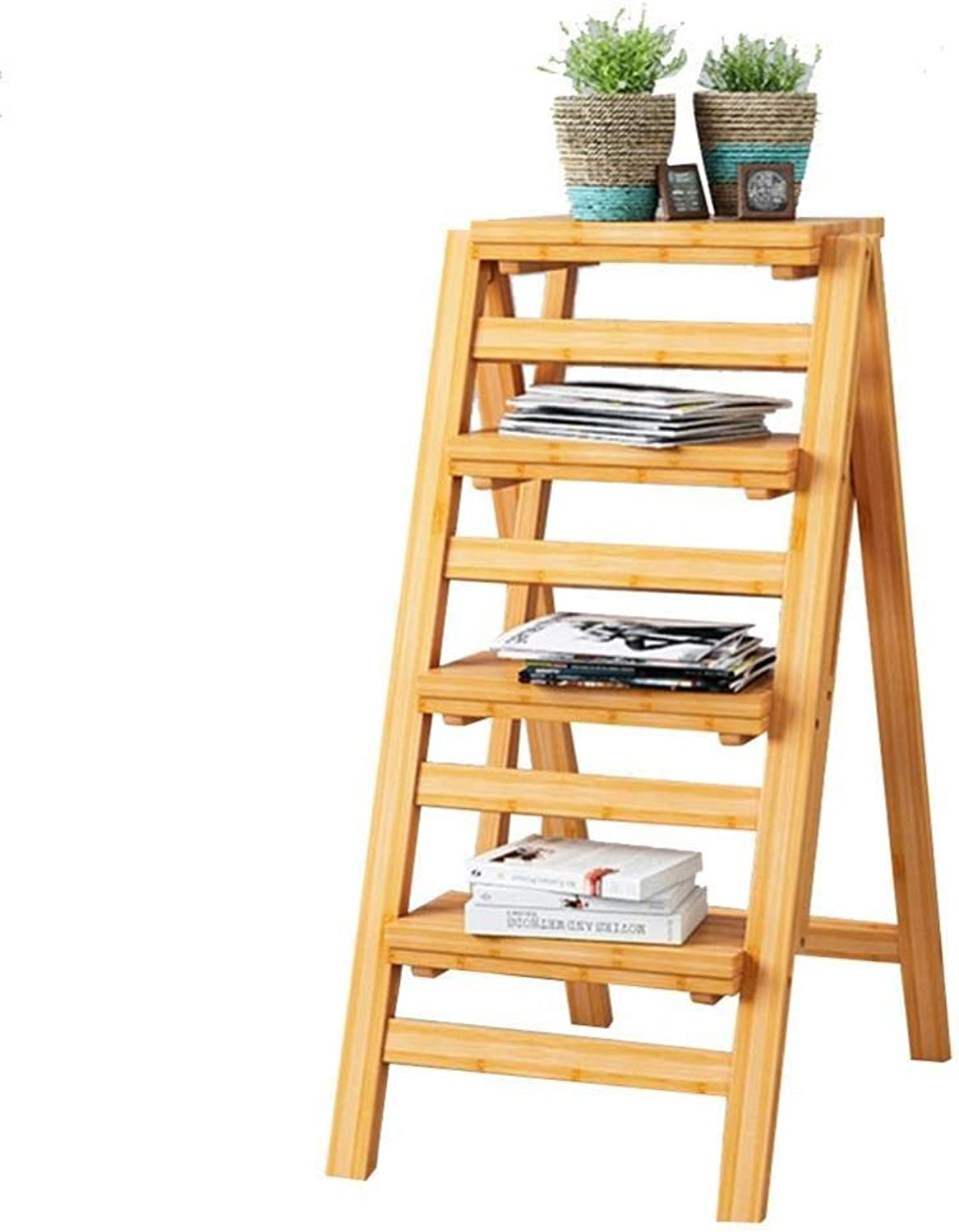 Costzon Folding Step Stool 3 Tier Wood Ladder Dark Nutbrown Folding Ladder Stools Stairs Multifunction Bar Stool Household Ascending Pedal Flower Stand Furniture (Size   4 Steps) (Size   4 Steps)