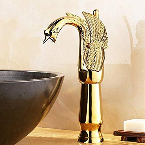 Luxus goldenes Messing Waschbecken Wasserhahn Tier Schwan Waschbecken Mischen Wasserhahn High-Tech