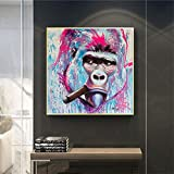 ganlanshu Cuadro En Lienzo-Gorila Mono Imprimir en Lienzo póster y decoración de Pared para Sala de estar70x70cmPintura sin Marco