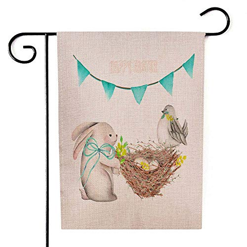 Douecish Garden Flags,Decorative Garden Flag Double Sided Watercolor Easter Rabbit Bird Nest Eggs Festive Garland Flags Isolated White Background Outdoor Decoration 12.5X18 Inch