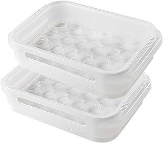 Dee Plus 24 Caja de Envase para Huevos,Caja de almacenamiento de plástico multifuncional, Las frutas y verduras se mantienen frescos,Clasificación y almacenamiento de pequeños objetos,Bolsa de regalo