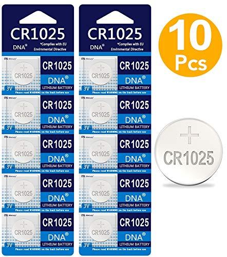 DNA CR1025 - Pilas de Litio para Reloj, calculadora Suiza, batería de Litio 3V+ (10 Unidades)