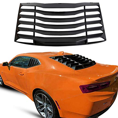 ECOTRIC Rear Window Louver Windshield Cover Vents Sun Shade ABS for 2016-2019 Chevy Camaro (Matte Black)