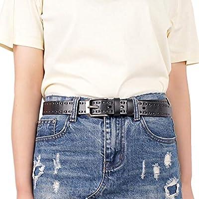 GSG Fashion Braided Belts for Women Western Leather Belts Pin Buckle Lady Waist Belt S Black