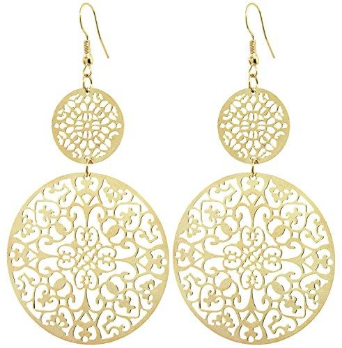 2LIVEfor Statement Ohrringe Gold Lang Ornament Ohrhänger Retro Ohrringe lang hängend gold Vintage Groß Rund