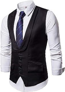 MU2M Men Basic V-Neck Single Breasted Dress Vest Waistcoat for Suit Tuxedo