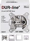 Bild des Produktes 'DUR-line Antennendose 3-Loch SAT | Kabelfernsehen | DVB-T | Radio | Unicable für Aufputz und Unterputz geeignet (En'