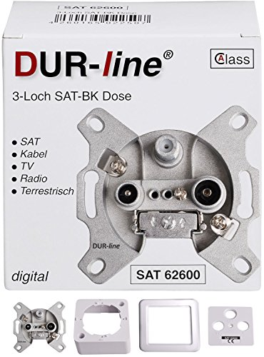 DUR-line Antennendose 3-Loch SAT | Kabelfernsehen | DVB-T | Radio | Unicable für Aufputz und Unterputz geeignet (Enddose, digitaltauglich)