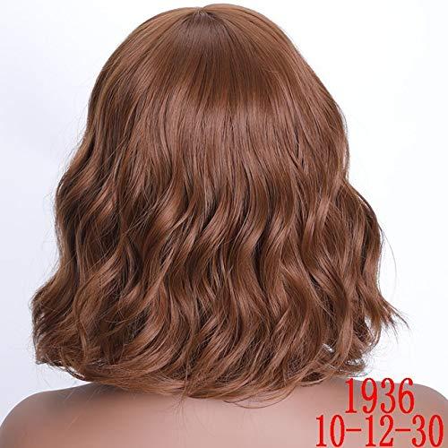 KYT-ma Cheveux synthétiques Brown 8 Couleurs court Vague perruques for les femmes Blanc / Noir résistant à la chaleur quotidien en fibres pleine faux cheveux ( Couleur : T1B/33 , Taille : 16inches )