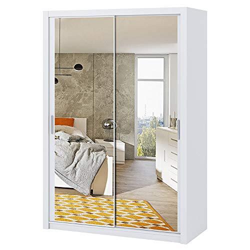 Selsey Rinker – Kleiderschrank/Schwebetürenschrank 2-türig optional mit Spiegel, 150 cm (Weiß Matt mit Spiegel)