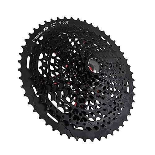 GH2 12 índice de Velocidad 9-50T Cassette Freewheel - MTB Rueda Libre de la Pieza Libre de la Pieza de Bicicleta Negra, Adecuada for la Rueda de Bicicleta XD/Cassette