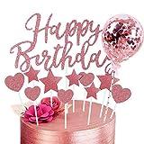 HongJing Happy Birthday Cake Topper, Stelle Cuori Topper Torta, Coriandoli Palloncino Topper Cake, per Matrimonio Compleanno Baby Shower Party Decorazioni per Torte di San Valentino (Oro Rosa)
