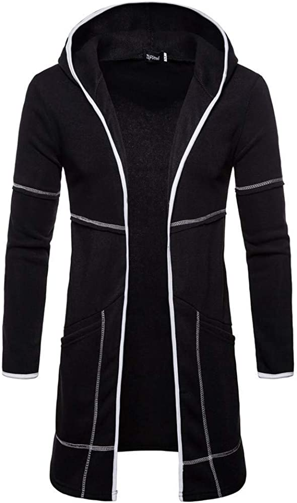 Mens Longline Hooded Cardigan Zip Up Lightweight Slim Casual Long Sleeve Solid Hooded Sweatshirts Outwear Jacket Coats