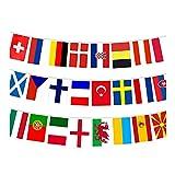 KPNG 2021 EM Fußball-Fan-Flaggen, 24 Länderflaggen, Banner, Fußball-Party-Dekoration, 14 x 21 cm, Flaggen für Bar, Garten, Party-Dekoration & Restaurant