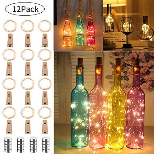 12 Piezas luz de Botella luz Corcho 20 LEDs 2M Luces Lámparas de Botellas con Pilas Botella de Vino Flexible de Alambre de Cobre LED Corcho para Boda, Fiesta, Decoración de Botella, bonus 20 Pilas