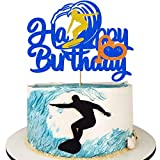 Surf Birthday Cake Topper, Glitter Happy Birthday Surfboard Cake Decorations for Summer Beach Surfing Theme Hawaii Party Surfer Birthday Party Supplies