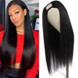 U Part Wig Human Hair Straight Wigs for Black White Women, 16 inch 10A Half Wig 2x4 U Shape Clip in Wigs Remy Human Hair Extension