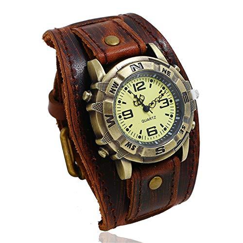 LUCKY CLOVER-A Relojes de Pulsera, Vintage Cool Watch Hombres Retro Punk Rock Watch Brazalete de Cuero Ancho Band Boyfriend Gift