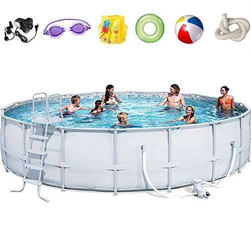 ZHANGLE Metallrahmen-Pool Oberirdischer Poolrahmen mit rundem Rahmen, Familienpool, Metallrahmen-Strukturpool, aufblasbares Planschbecken