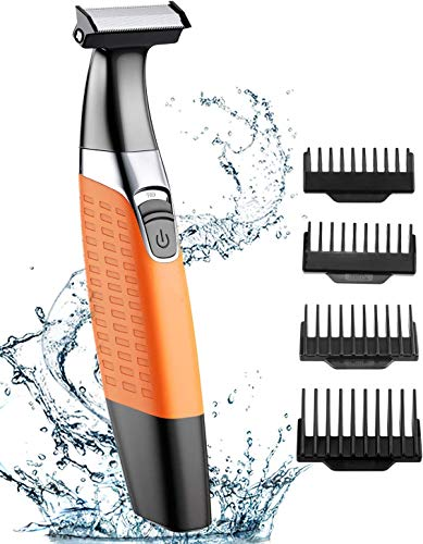 Bcway Beard Trimmer, Professional Electric Razor for Men, USB Rechargeable Shavers for Men, Wet & Dry Electric Shaver with 4 Guide Combs, Cordless Nose & Ear & Mustache & Body Trimmer for Detailing