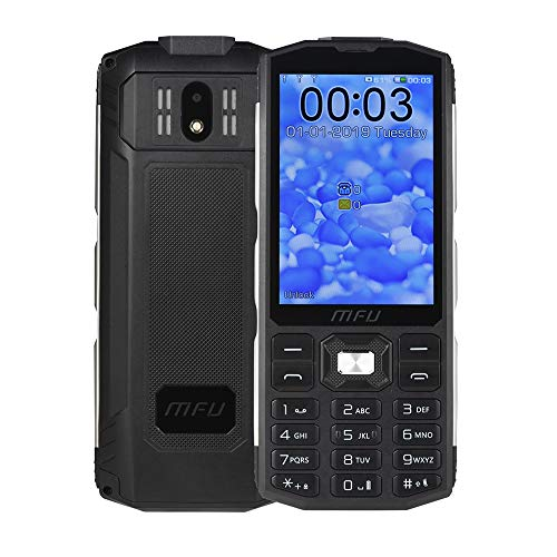 """MFU Easy to Use Cell Phone for Seniors & Unlocked Phone 2G Tri SIM 3 SIM Cards Big Button Large Button Big Volume Large Capacity Power Bank Long-time Standby 3.5"""" Large Screen Super Torch Light-Black"""