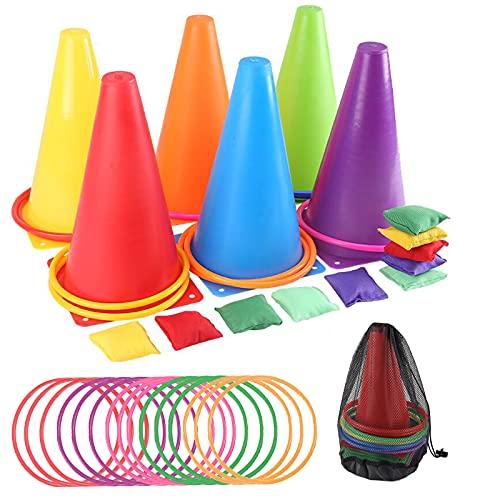 Coriver Juego de 32 juegos de lanzamiento de anillos, juego combinado de carnaval 3 en 1 con bolsas de frijoles, aros de plástico, marcadores de cono y bolsa de malla de transporte para exteriores