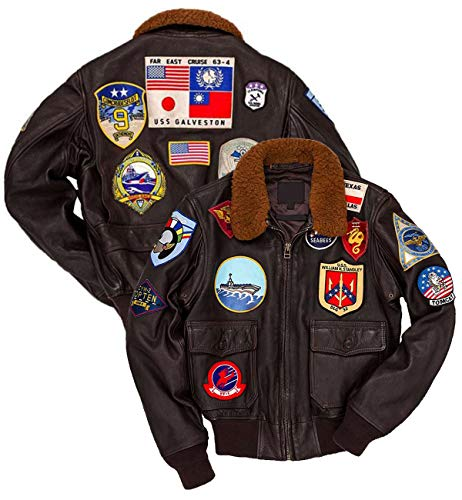 G1 Maverick Aviator Air Force Real Leather Bomber Style Tom Curise Celebrity Squadron Patches Jacket for Mens (XXXLarge) Brown