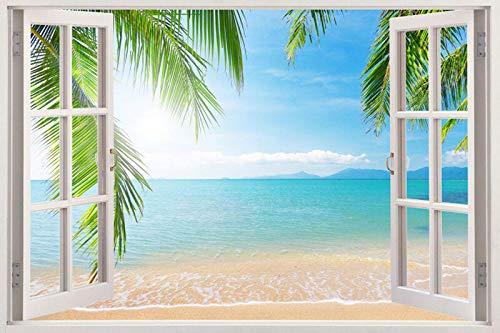 Wandtattoo 3d Palm Beach Fenster Wandkunst Aufkleber Vinyl Aufkleber Master View abnehmbar