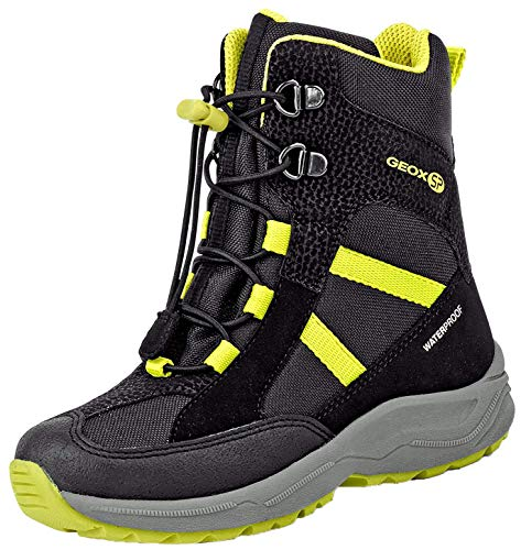 Geox Jungen Snowboots NEW ALASKA BOY WPF, Kinder Winterstiefel,Schneestiefel,Schneeboots,Schneeschuhe,Canadians,BLACK/LIME,31 EU / 12.5 UK Child