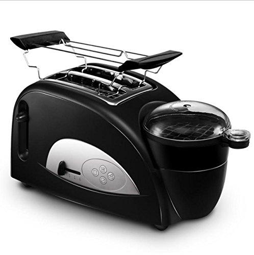NANXCYR Edelstahl Toaster Automatische Frühstücksmaschine Eierbackautomat 2 Scheiben Toaster und Ei 1200 W - Schwarz