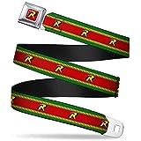 Buckle-Down Seatbelt Belt - Robin 'R' Logo Stripe Green/Yellow/Red/Black - 1.5' Wide - 32-52 Inches in Length