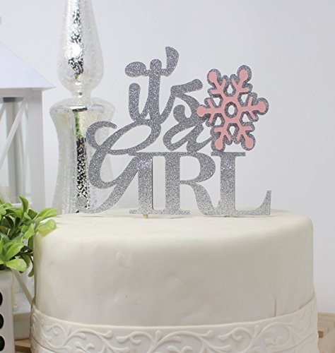 All About Details Winter Theme It's A Girl Cake Topper, 1pc, Party Decor, Baby Shower Cake Topper, Winter Theme Baby Shower Decoration, Glitter Topper (Light Pink & Silver)