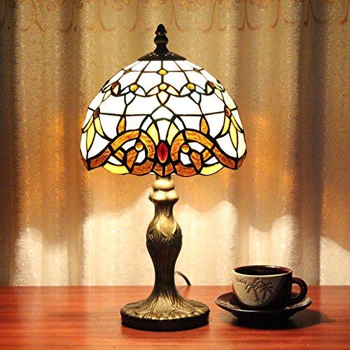 TFFN 8-Inch Vintage lampe de table baroque lampe de table lampe de chevet pastorale vitrail Vintage