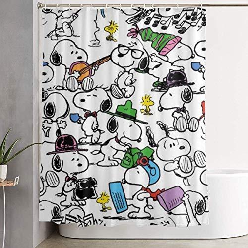 Duschvorhang Verschiedene Snoopys Kunstdruck, Polyester Stoff Badezimmer Dekorationen Kollektion mit Haken - 60 x 72 Zoll