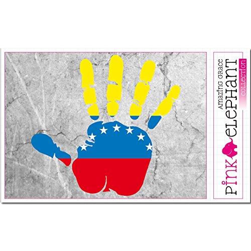 pinkelephant Aufkleber - Venezuela - Hand - Handabdruck - Fahne - 21 cm x 20 cm - Laptop Sticker skin flag