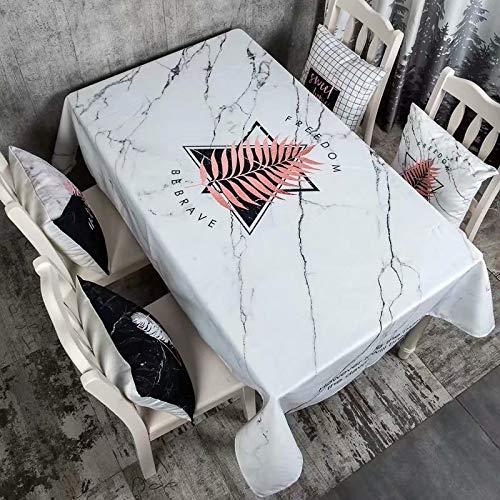 Creek Ywh rechthoekige eettafel van katoen en linnen, wit en zwart, marmer, waterdicht, rechthoekig, eettafel, koffie, 110 x 170 cm