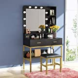 Tribesigns Vanity Table Set with Lighted Mirror & Stool, Makeup Vanity Dressing Table with 9 Lights, 2 Drawers and Storage Shelves for Bedroom, Gold Vanity Desk for Women Girls (Black/Black)