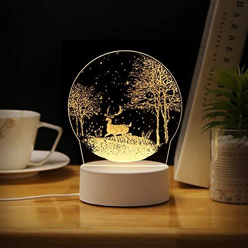 Creatieve Nachtkastje Slaapkamer Energiebesparende 3D-Persoonlijkheid Nachtlampje 1 Jungle Snow Deer