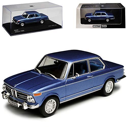 WHlTEBOX B-M-W 2002 ti Blau 1966-1977 limitiert 1 von 1000 Stück 1/43 Whitebox Modell Auto mit individiuellem Wunschkennzeichen